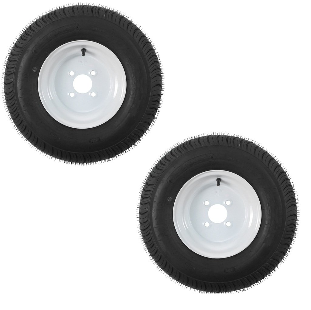 eCustomRim 2-Pack Trailer Tires On White Rims 480-8 4.80-8 4.80 x 8 Load C 4 Lug/4
