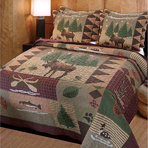 Moose Lodge 3 Piece Quilt Set Size: Full / Queen