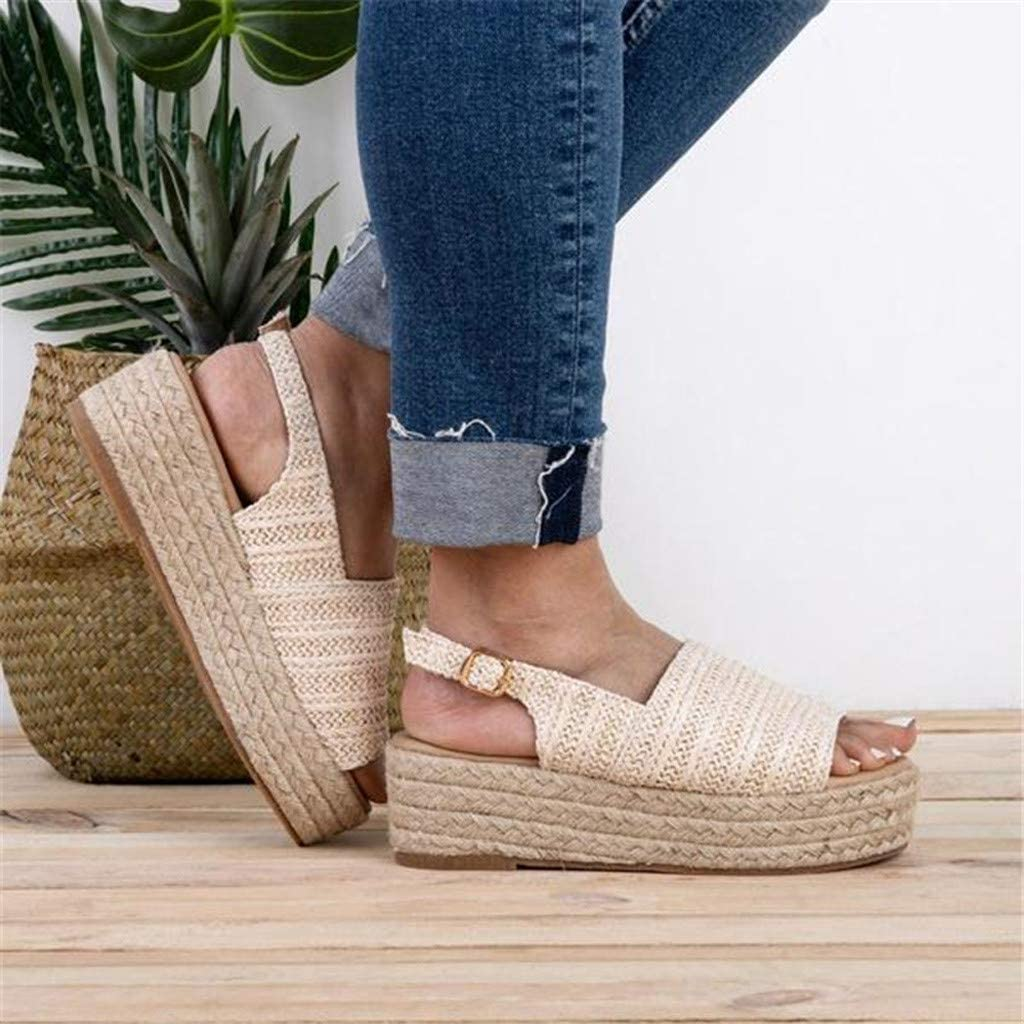 Newlyblouw New Women Fashion Open Toe Ankle Strap Sandals Ladies Summer Casual Roman Slippers Thick Bottom Beach Shoes