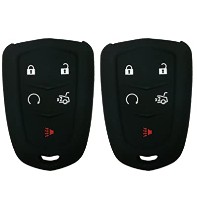 2Pcs Coolbestda Rubber 5 Buttons Smart Key Fob Remote Cover Case Protector Keyless Jacket for 2020 2020 2016 Cadillac CT6 XT5 CTS XTS SRX ATS HYQ2AB HYQ2EB Black: Car Electronics