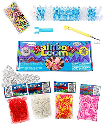 The Original Rainbow Loom Bands Value Pack, Complete Set Crafting Kit includes Loom, Metal Hook, Mini Rainbow Loom, 3000 Multi-Color Rubber Bands Refill, 120 Large Clips For Bracelets & Keychains