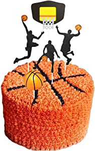 Ainuioi Set of 25 Basketball Cupcake Toppers,Basketball Scene Theme Cake Toppers Set Boy Birthday Party Decorations Supplies