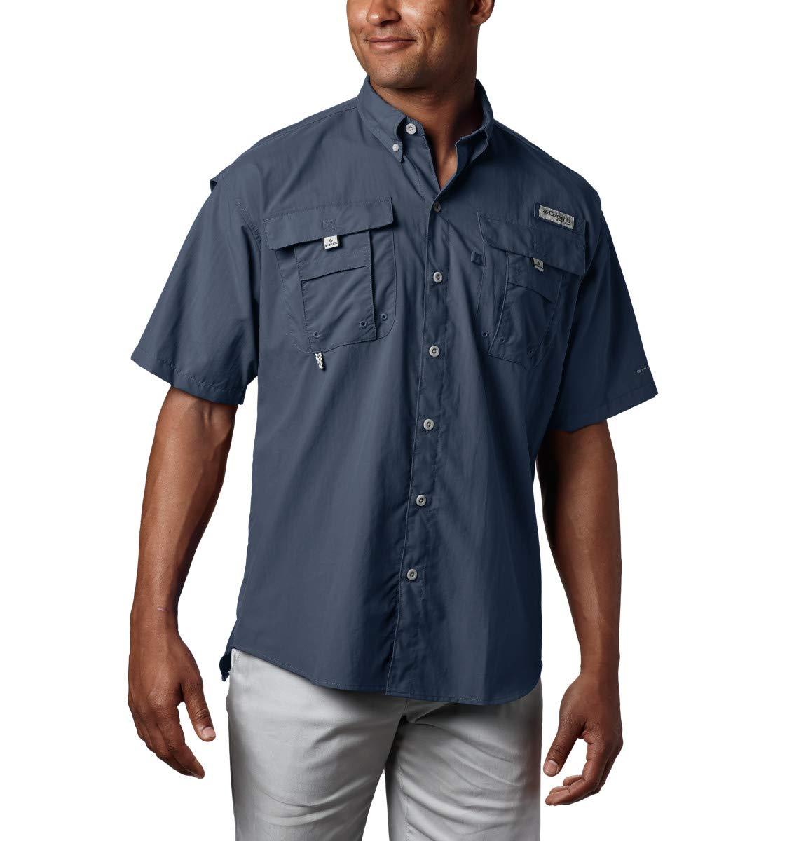 Columbia Men's PFG Bahama II Short Sleeve Shirt, Collegiate Navy, Large/Tall by Columbia
