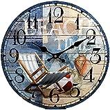 """New 13""""X 13"""" Beach Chair Wood Wall Clock Home Wall Decor Marine Coastal Beach"""