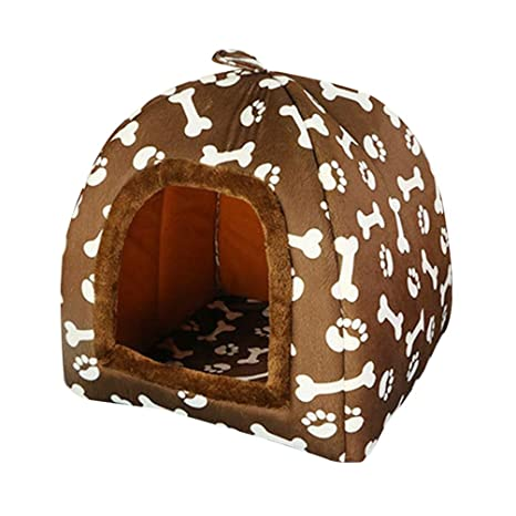 JEELINBORE Estampado Casa para Mascota Plegable Suave Caseta Cama para Perro o Gato (47 *