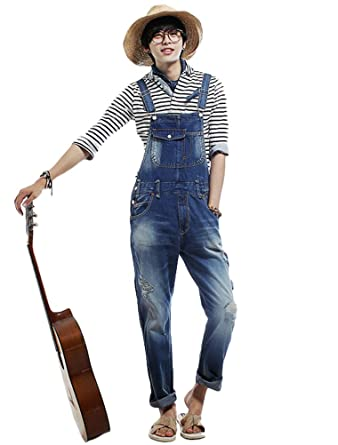 399b69ae2f28 Vogstyle Men s Casual Denim Jumpsuits Loose Fit Ripped Romper Bib Overalls  at Amazon Men s Clothing store