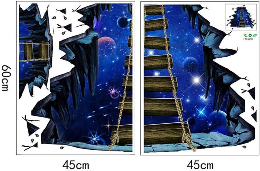 Koperras Stickers Muraux,/éToiles 3D Pont Papiers Peints Mural pour Chambre//Salon Auto-Collant Adh/éSif Amovible R/éUtilisable Sticker Mural Autocollants Affiche D/éCoration Murale
