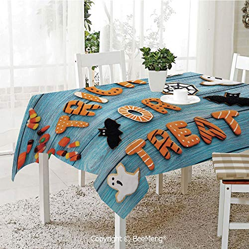 (BeeMeng Large Family Picnic Tablecloth,Easy to Carry Outdoors,Vintage Halloween,Trick or Treat Cookie Wooden Table Ghost Bat Web Halloween,Blue Amber Multicolor,59 x 104)