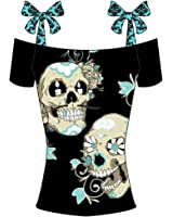 Ofenbuy Women Casual Skull Print Tops Bowknot Off Shoulder Tees Plus Size 5XL