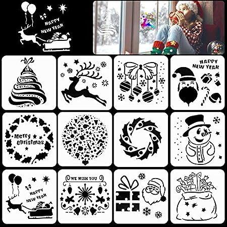 HOWAF Pochoir Noel 24 Pi/èces Petit Pochoir Peinture en Plastique R/éutilisable pour Bullet Journal Scrapbooking Cadeau Noel Enfant Fabrication de Cartes Artisanales D/écoration de No/ël