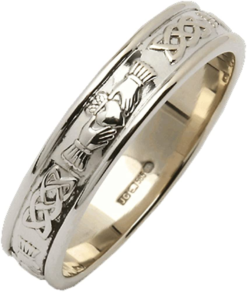 """It is a picture of Ladies Claddagh Wedding Ring Narrow Made In Ireland Sterling Silver Intricate Claddagh Design Around 50/50"""" Band Made By Maker-Partner Fado in Co."""