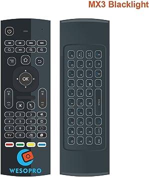 wesopro MX3 2,4 G inalámbrico mando a distancia Air Mouse, teclado inalámbrico y aprendizaje de infrarrojos para KODI Android TV Box, Smart TV, PC, HTPC, Windows, Mac OS, Linux: Amazon.es: Electrónica