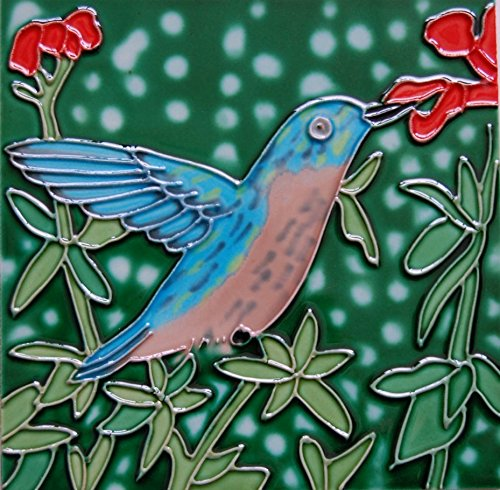 4 x 4 inch hummingbird ceramic tile art coaster by tile craft