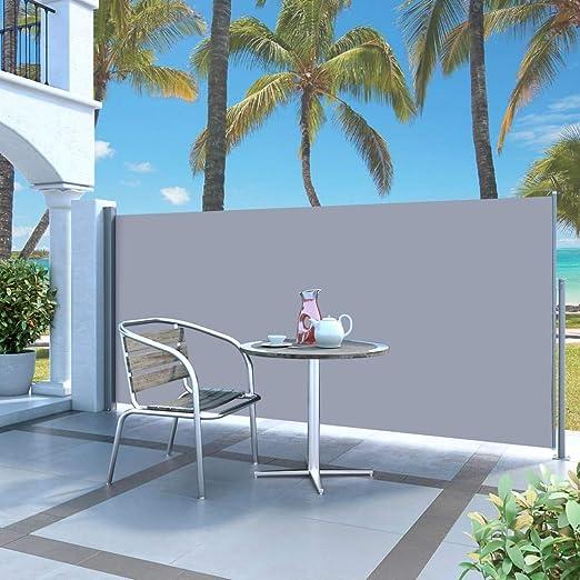 UBaymax Toldo Lateral Retráctil de Jardín, Pantalla de Toldo Lateral para Terraza Patio, Mampara de Privacidad para Exterior Plegable, Protección Solar, Gris 120x300 cm: Amazon.es: Jardín