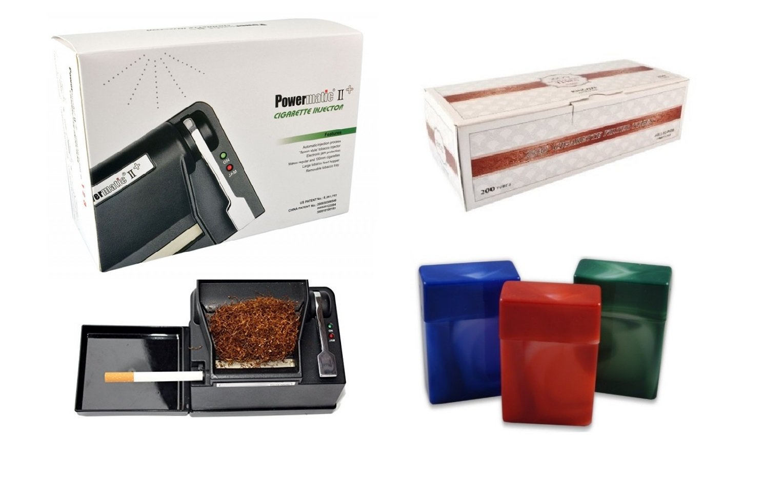 Powermatic 2 PLUS Electric Cigarette Injector Machine Plus Free 1 Box of 200ct Zico Cigarette Tube and Fess 3 Pk 85mm King size Cigarette Case