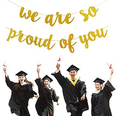Graduations Party Supplies 2020 Congratulations Banner, Gold We are So Proud of You Banner for College Graduation Decorations(No DIY Required): Toys & Games [5Bkhe0304035]