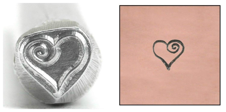 Beaducation Metal Stamp Heart Spiral 4.5mm