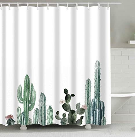 Cactus Decor Shower Curtain With Modern Concise Design Bath Fantastic Decorations Waterproof Mildew Resistant Polyester