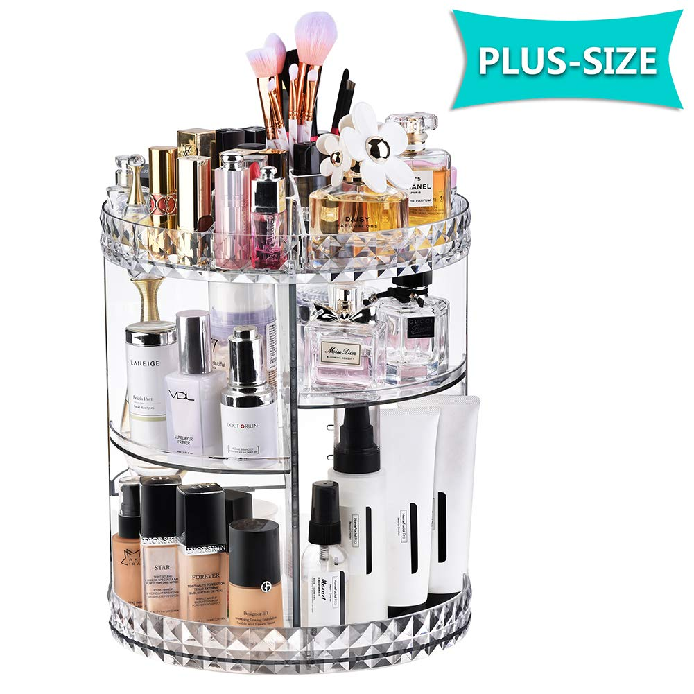 Exblue Makeup Organiser,360 Degree Rotating Cosmetic Display Stand, Adjustable Makeup Storage, Transparent Cosmetic Storage Box, Crystal Clear