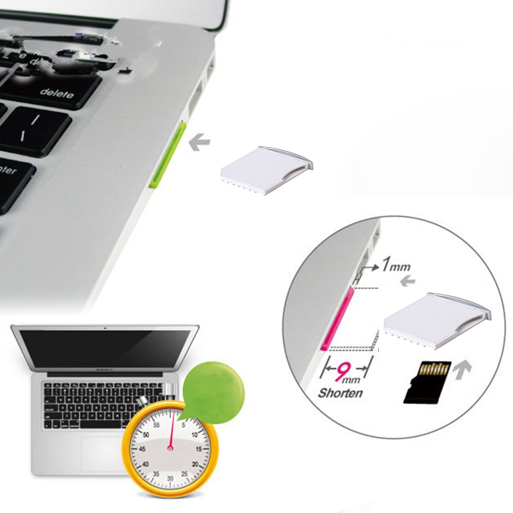 Mini Tarjeta Micro SD Cubierta Dise/ñada para MacBook Pro//Air QIND 1 x Adaptador convertidor Micro SD//TF a SD
