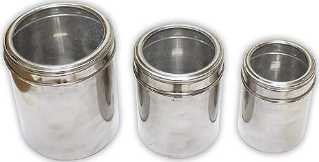 Bidón de acero inoxidable con glass-lids (3 piezas): Amazon ...