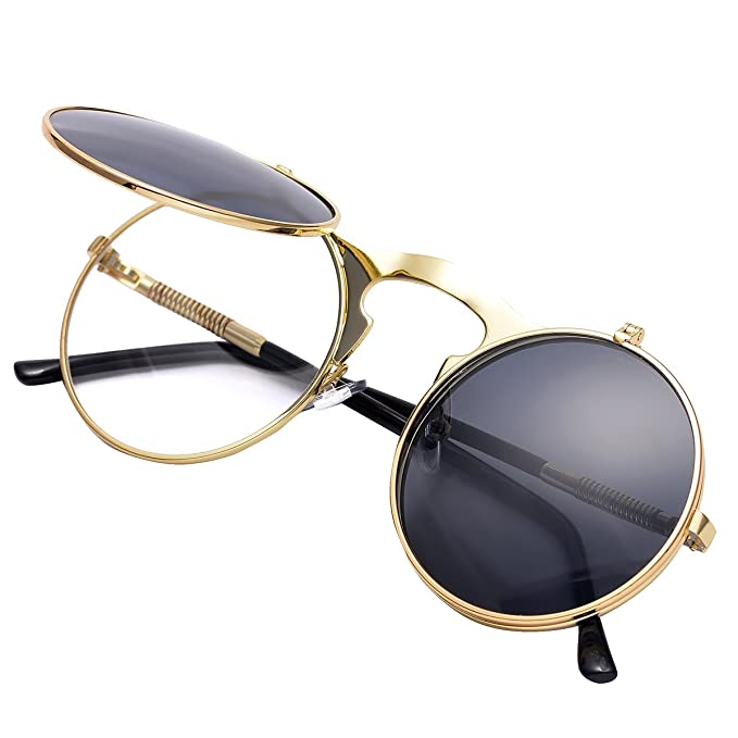 4ef0bc0decb COASION Retro Metal Flip Up Round Circle Frame Steampunk Sunglasses for Men  Women (Gold Frame Black Lens  Amazon.in  Clothing   Accessories