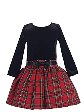 9d27a51f4 Amazon.com: Girls Christmas/Holiday Long Sleeve Velvet and Plaid Dress:  Clothing
