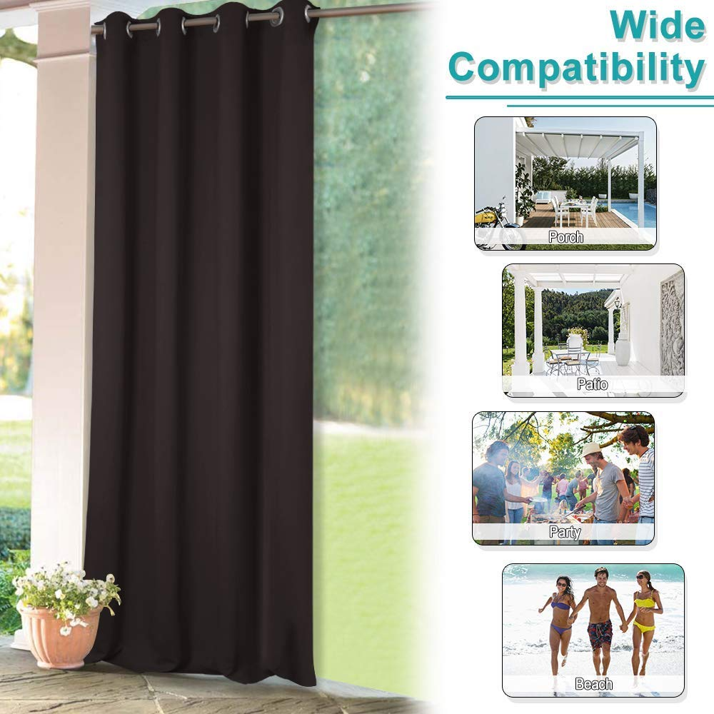 Ocean Outdoor Privacy Curtain for Pergola Beach View from Caribbean Sea in a Sunny Day Exotic Summer Season Print Thermal Insulated Water Repellent Drape for Balcony W108 x L84 Cream Turquoise Whit