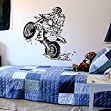 Dirtbike Wheelie Wall Decal Sports Wall Vinyl Art Stickers for Kids Rooms Boys Home Decor Vinilos Paredes Moto X Murals