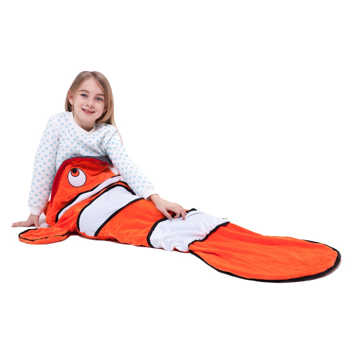 Echolife Clown Fish Tail Blanket Soft Fleece Children Sleeping Bag Christmas Gifts for Kids 3-10 Years Old - Designed by Echolife (Clown Fish)
