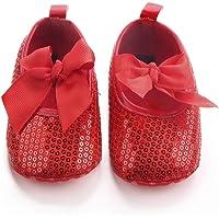 Nagodu Shoes Zapatos para Bebes niñas de Lentejuelas Rojas Brillantes con un moñito, Hermoso diseñño