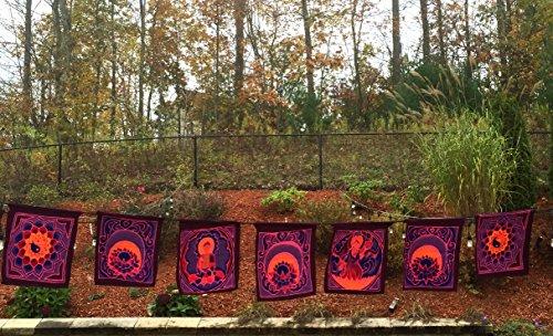 OMA Prayer Flag 7 Chakra Prayer Flag Wall Hanging Yoga Meditation Decor, Batik Painted – SIZE XLG- 11 Feet, BEST QUALITY Review