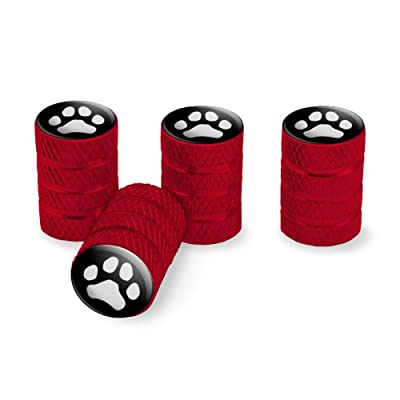 Graphics and More Paw Print Dog Cat White on Black Tire Rim Wheel Aluminum Valve Stem Caps - Red: Automotive