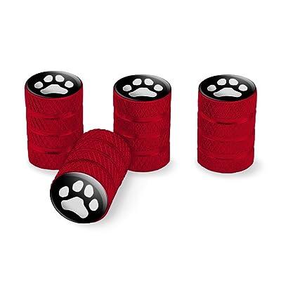 Graphics and More Paw Print Dog Cat White on Black Tire Rim Wheel Aluminum Valve Stem Caps - Red: Automotive