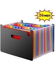 DAMIGRAM 24 tasche Cartelle Documenti Accordion File Impermeabile Cartella Portadocumenti, grande capacità, Multicolore, Espandibile, Portatile, struttura a Fisarmonica, Perfetta