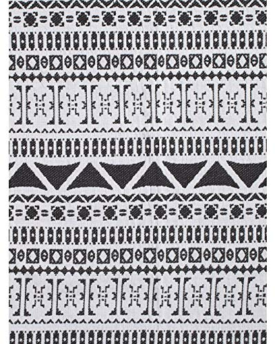 (Devi Designs Decorative Woven Cotton Throw Blanket Toss Southwestern Geometric Shapes Pattern Black White - Chenille Santa Fe)
