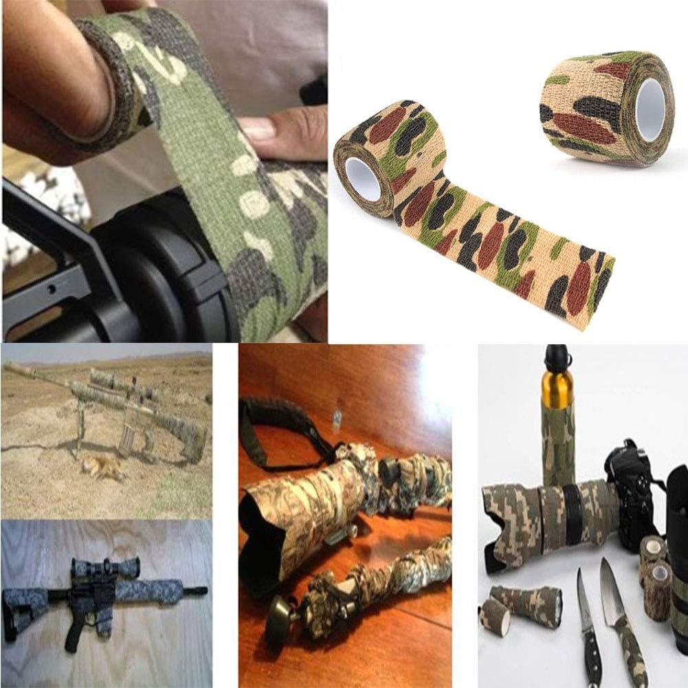 5X Cinta estiramiento camuflaje vendaje Alcance de la pistola Rifle Envoltura
