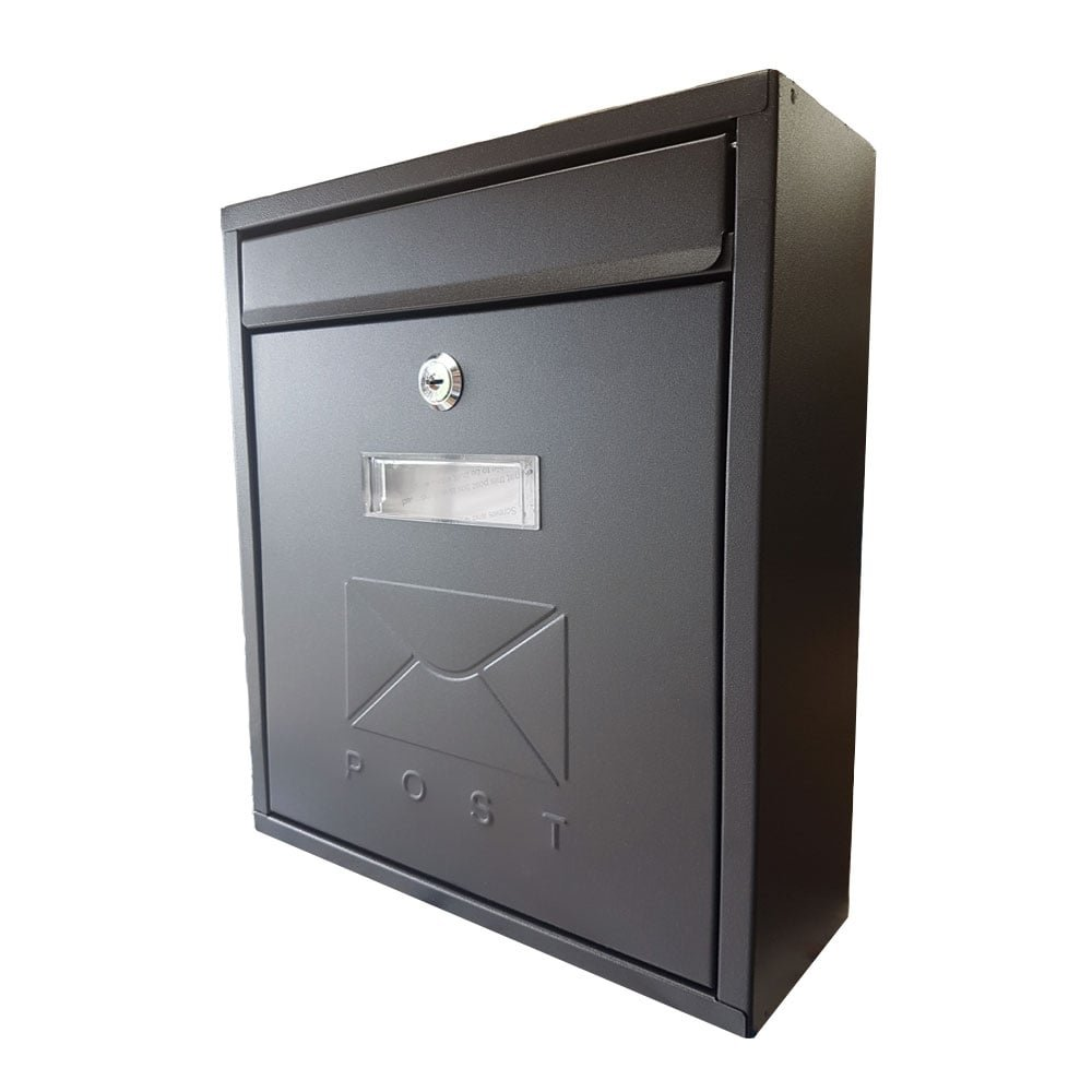 Black Metal Post / Letter Box, Key Lockable Wall Mounting Outdoor Mail Box De Vielle TSH010Z