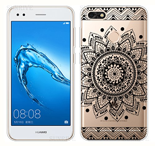 Funda Para Huawei Y6 Pro 2017 / P9 Lite Mini, Sunrive Silicona Funda Slim Fit Gel Transparente Carcasa Case Bumper de Impactos y Anti-Arañazos Espalda Cover(tpu Panda 1) + 1 x Lápiz óptico tpu Flor negro