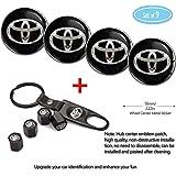 Fubai Auto Parts 4 Pack for Toyota Wheel Center Caps Emblem-Black,56MM/2.22' Rim Hub Emblem Badge Sticker + 4 Pack…