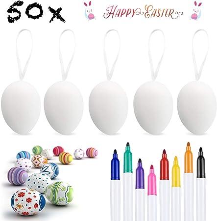Weeygo 50 x Uova di Pasqua Decorate con 8 Pennelli Appendere Le Uova di Plastica con La Corda Pittura di Artigianato Fai da Te di Pasqua per La Decorazione e Regalo