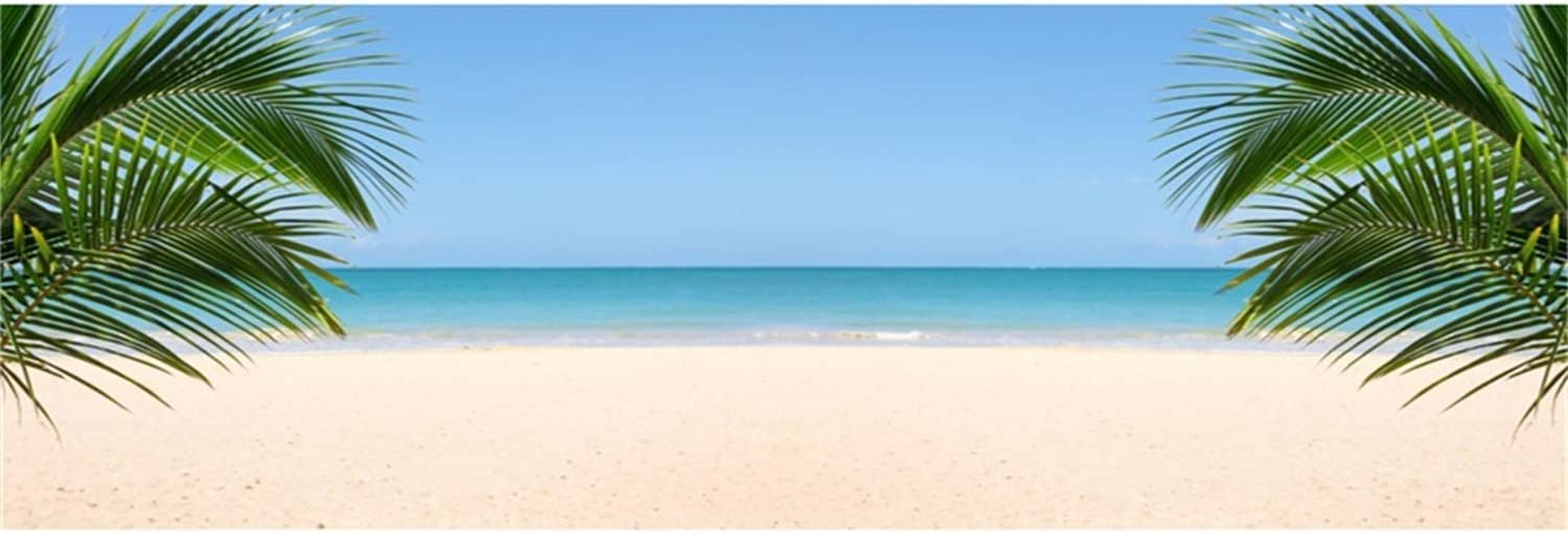 Summer Seaside Beach Scenic 10x6.5ft Polyester Photography Background Palm Leaves Blue Sky Seawater Backdrop Wedding Shoot Eatery Landscape Wallpaper Birthday Party Banner Luau Studio Props
