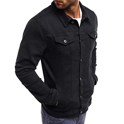 Men Denim Jacket Coat Classic Slim Fit Vintage Jean Button Trucker Tops Shirts at Amazon Mens Clothing store: