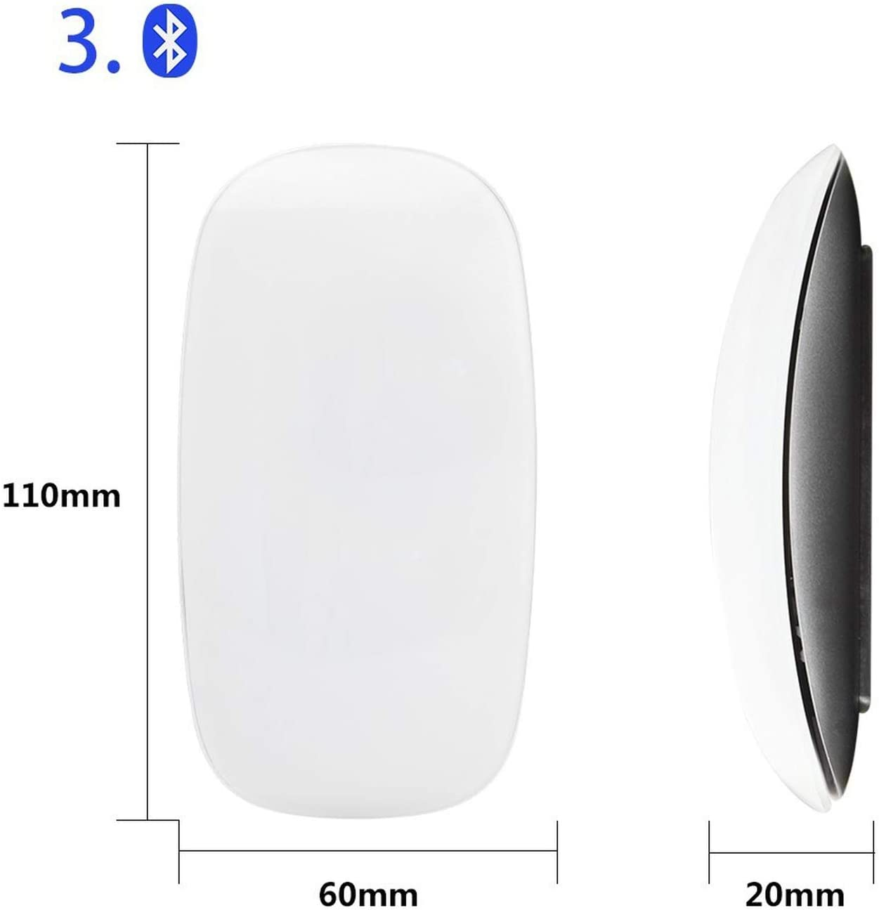 Bluetooth Wireless Magic Mouse Slim Arc Touch Mouse Ergonomic Optical USB Computer Ultra-Thin BT 3.0 Mice for Mac PC
