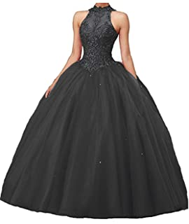 6a20975abb3 CharmingBridal High Neck Lace Prom Pageant Ball Gown Quinceanera Dresses