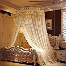 Round Princess Mosquito Net Canopy with Lace Dome Princess Fly Screen Netting Bug Screen Repellant for Home Travel (Yellow)