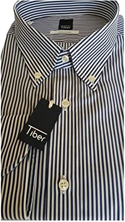TIBER - Camisa de Manga Corta para Hombre, Tallas Grandes Azul Marino/Blanco Cuello 44: Amazon.es: Ropa y accesorios