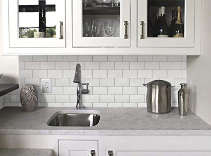 Vamos Tile White Subway Removable Peel And Stick Tile Backsplash,Self  Adhesive Vinyl Wall Tiles