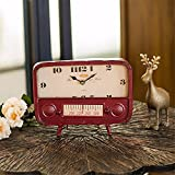 American Countryside Decoration Clock Creative Radio Alarm Clock Decoration Home Accessories Retro Station Clock, Red