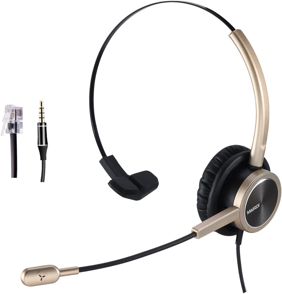 Phone Headset RJ9 for Office Call Center with Noise Cancelling Mic with Extra 3.5mm Connetor for Mobiles Compatible with Avaya Nortel Aastra Toshiba Phone
